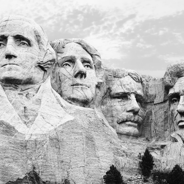 """""""A closeup of the four heads of USA presidents at Mount Rushmore South Dakota in black and w"""" stock image"""
