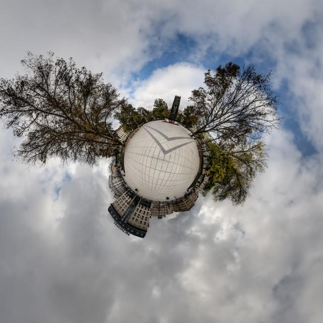 """""""Little Planet - Vincas Kudirka Square - Vilnius"""" stock image"""