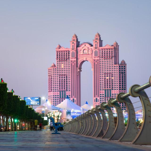 """Al Marina island walking path by the seaside in Abu Dhabi at sunset"" stock image"