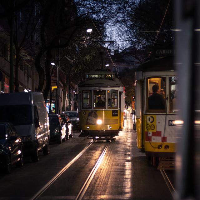 """Night Tram"" stock image"