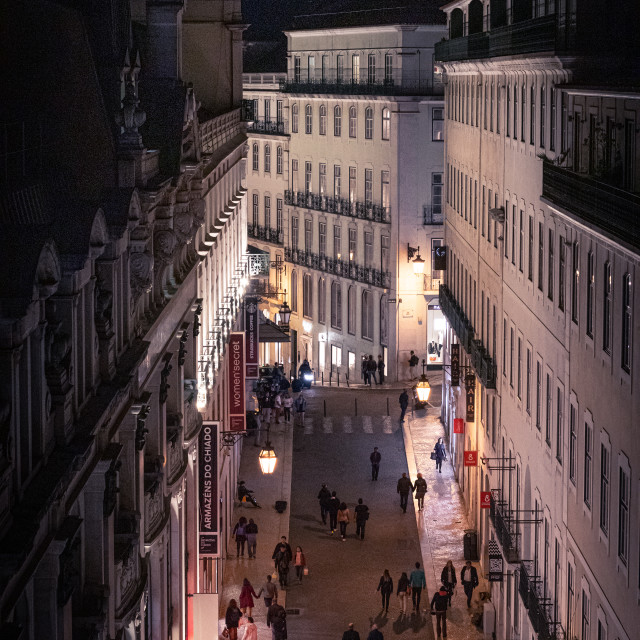 """Nightime streets in Lisbon"" stock image"