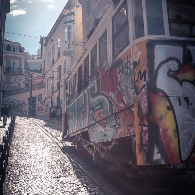 """Tram in Lisbon"" stock image"