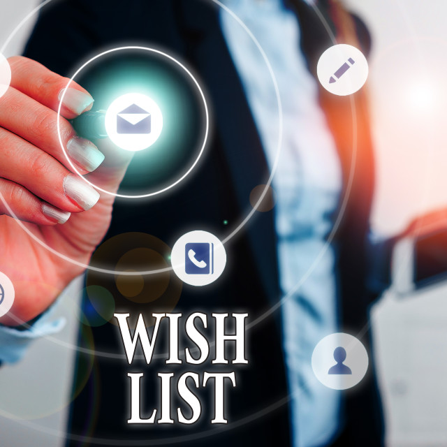 """Text sign showing Wish List. Conceptual photo List of desired but often..."" stock image"