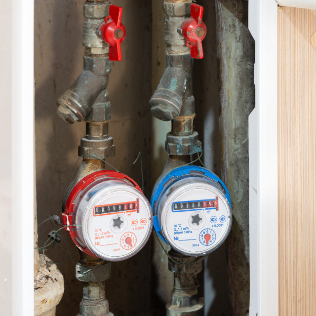 """""""Hot and cold water meter"""" stock image"""