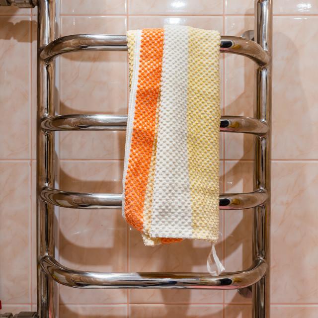 """""""Stainless steel bathroom heated towel rail radiator"""" stock image"""