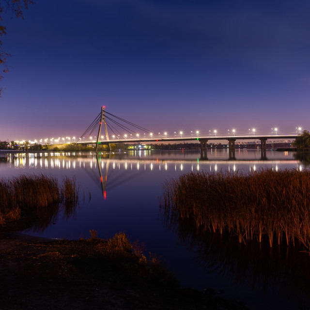 """View of the Pivnichnyi Bridge on the Dnieper river in Kiev, Ukra"" stock image"