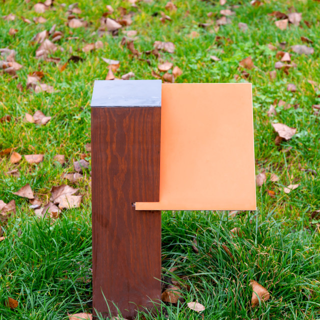 """""""Colored wooden board for information and indications"""" stock image"""