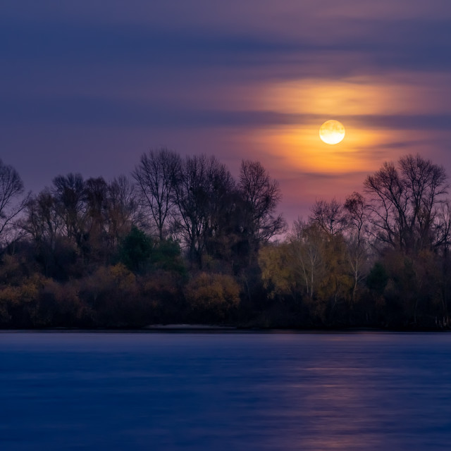 """""""Real full moon over the autumn forest close to Dnieper river in Kiev, Ukraine. Soft clouds in the dark sky cover partially our natural satellite. The water looks like a glossy blue mirror."""" stock image"""
