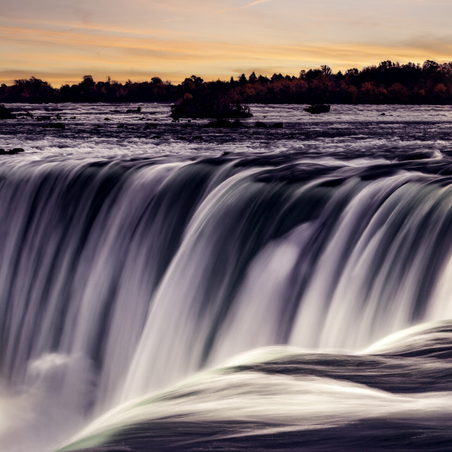"""""""Horseshoe Falls, also known as Canadian Falls, is the largest of the three waterfalls that collectively form Niagara Falls."""" stock image"""