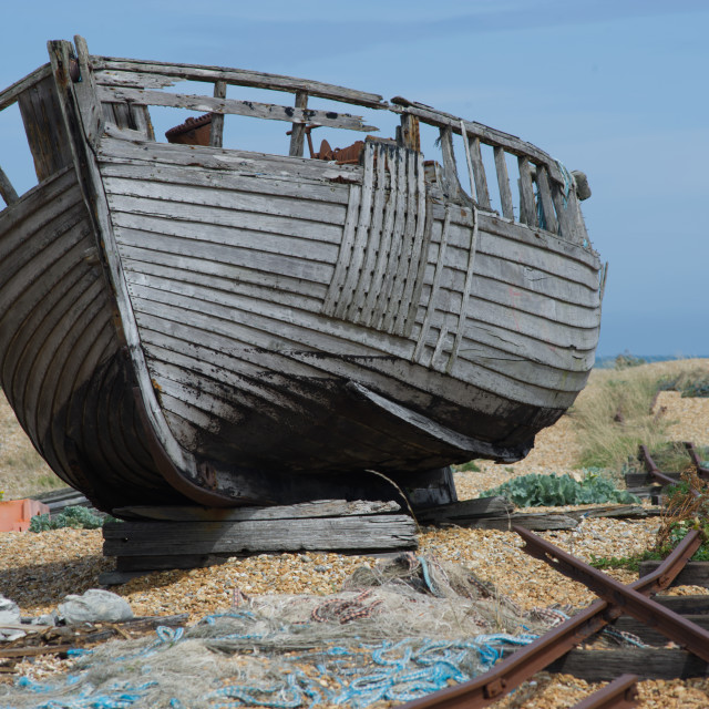 """Old boat on the beach"" stock image"