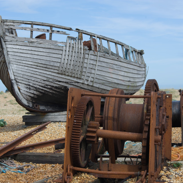 """Old boat and winch"" stock image"