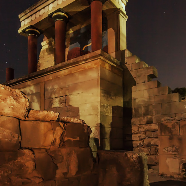 """Knossos Palace at Moonlight"" stock image"
