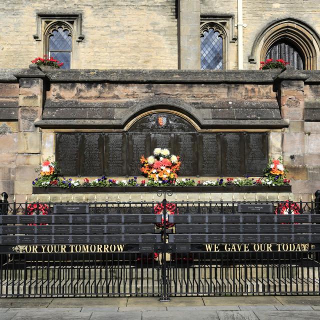 """Stamford War Memorial outside the Browne Hospital, Broad Street, Stamford..."" stock image"