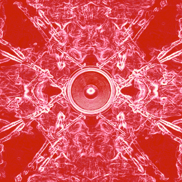 """""""Music speaker on a red swirling background"""" stock image"""