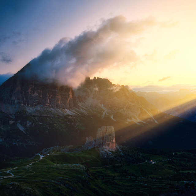 """""""When the light comes over the land"""" stock image"""