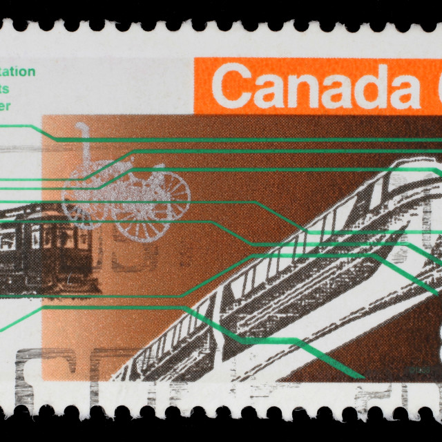 """Stamp printed in Canada from the ""Expo 86 World's Fair"" issue shows Vancouver transportation, circa 1986."" stock image"