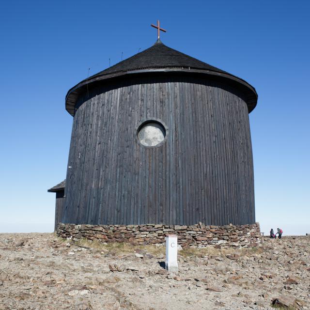 """St. Lawrence Chapel on Sniezka Mountain"" stock image"