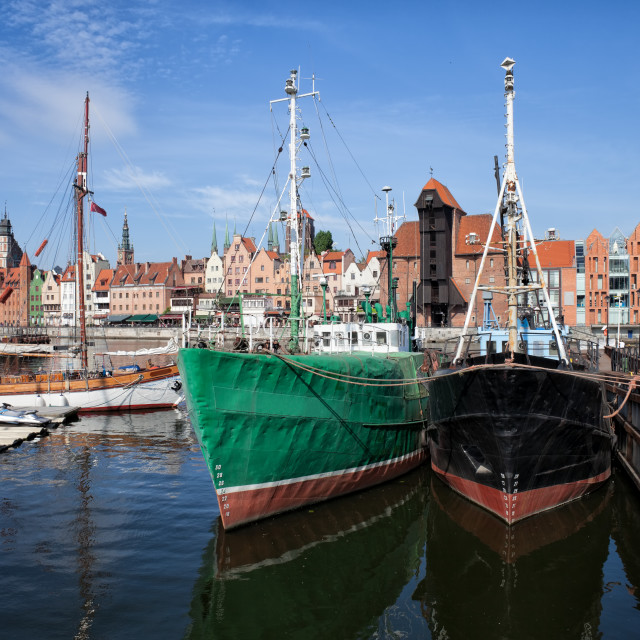 """""""Gdansk Old Town Skyline From The Harbour"""" stock image"""