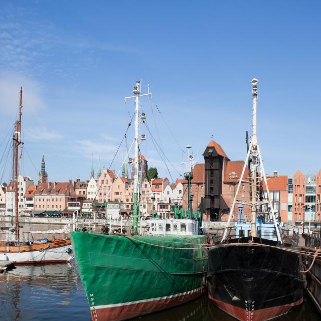 """Fishing Ships in Gdansk Harbor"" stock image"