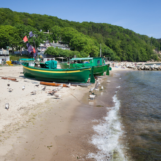 """""""Beach With Fishing Boats In Gdynia"""" stock image"""