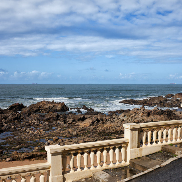 """""""Ocean Coast With Balustrade And Street Lamp"""" stock image"""