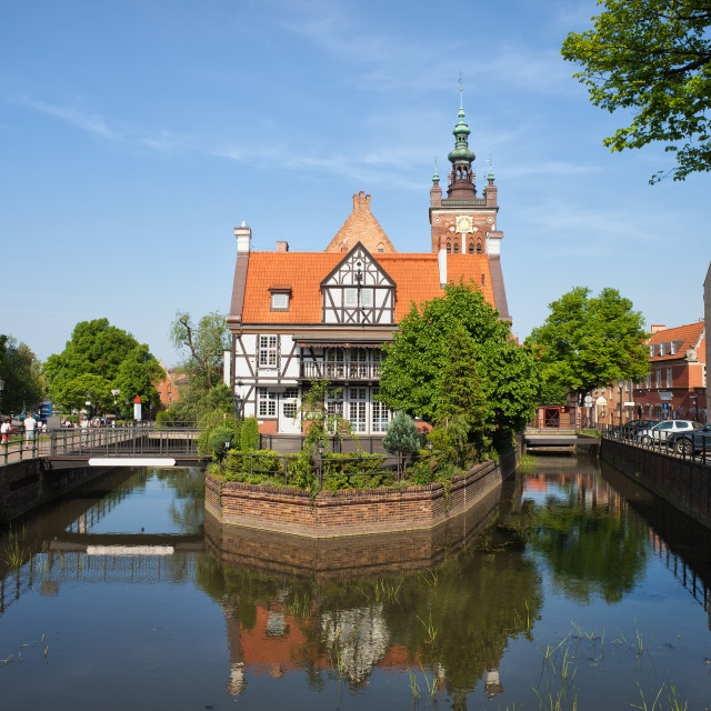 """""""Miller House on Raduni Canal in Gdansk"""" stock image"""