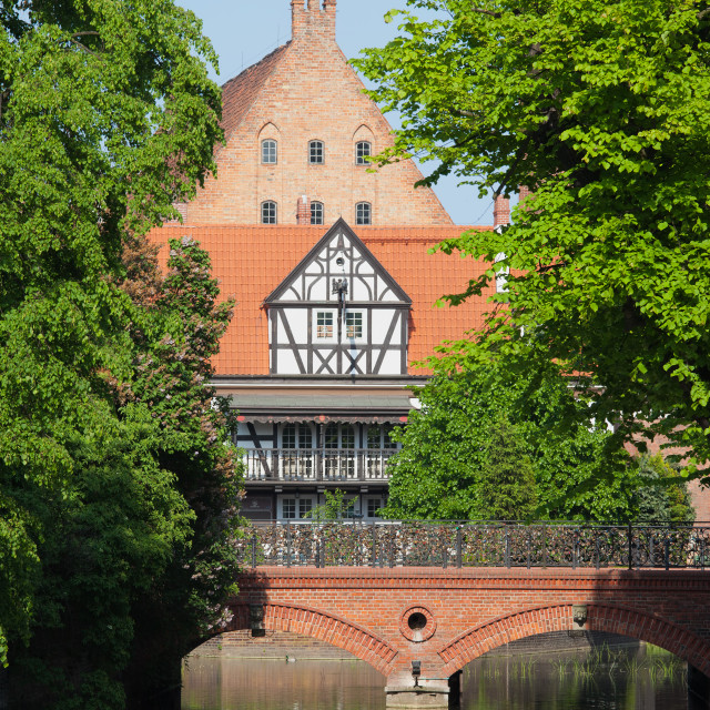 """""""Bridge of Love and Miller House in Gdansk"""" stock image"""
