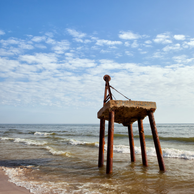 """Old Rusty Crane At Sea Shore"" stock image"