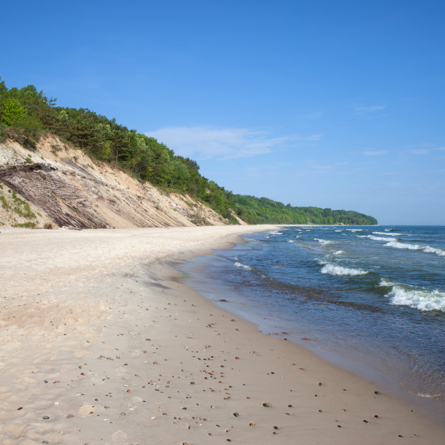 """""""Cliff and Beach at Baltic Sea in Chlapowo"""" stock image"""