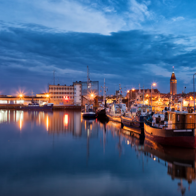 """""""Port in Wladyslawowo Town at Night in Poland"""" stock image"""