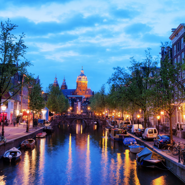 """""""Evening in City of Amsterdam"""" stock image"""