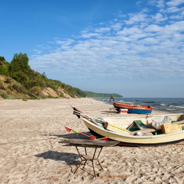 """Fishing Boats on Baltic Sea Beach"" stock image"