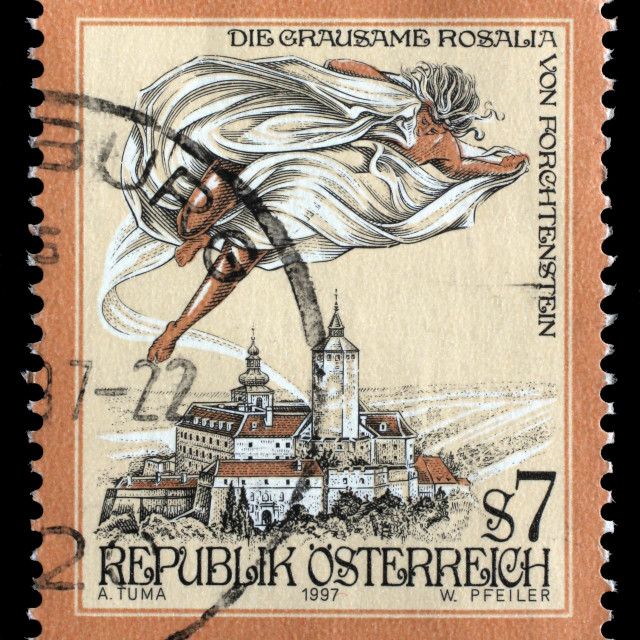 """""""Stamp printed in the Austria shows The Cruel Lady of Forchtenstein Castle,..."""" stock image"""
