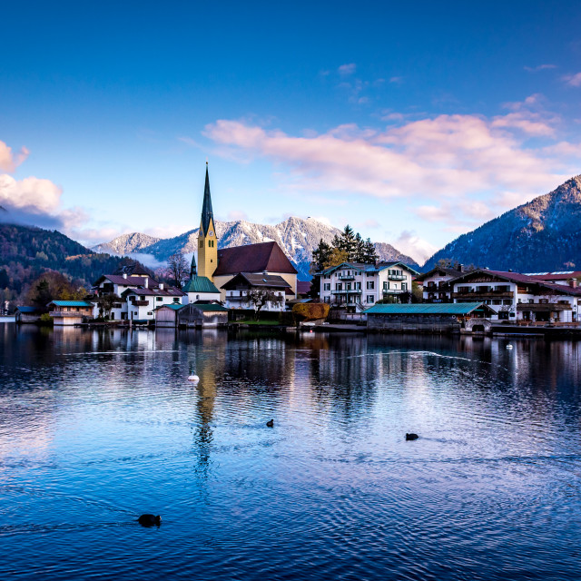"""picturesque village on the lake"" stock image"