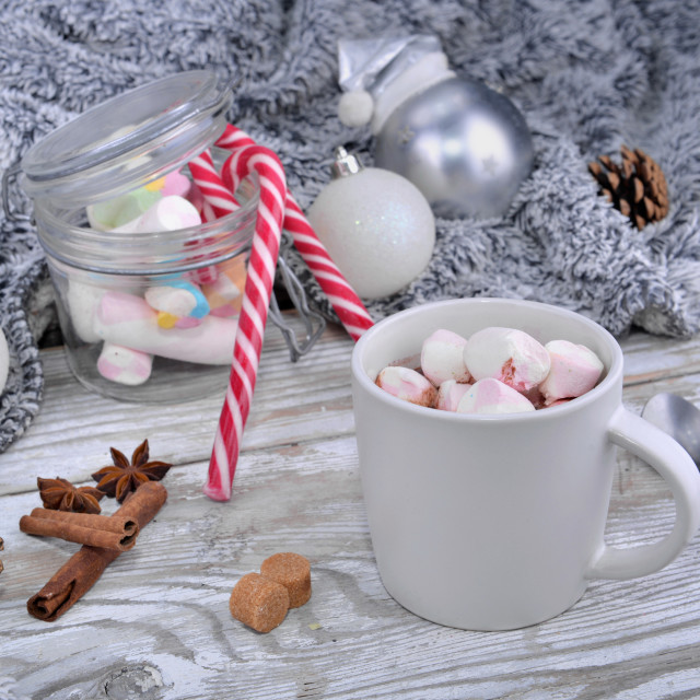 """mug full of marshmallow on a milk chocolate on a table in christ"" stock image"