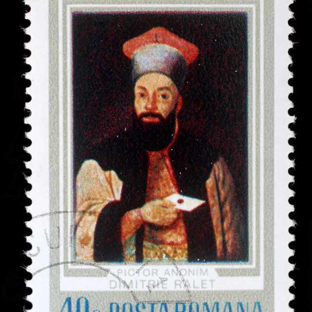 """Stamp from Romania shows image of Demetrius Ralet (1817 - 1858) the poet, novelist, translator and playwright, circa 1973."" stock image"