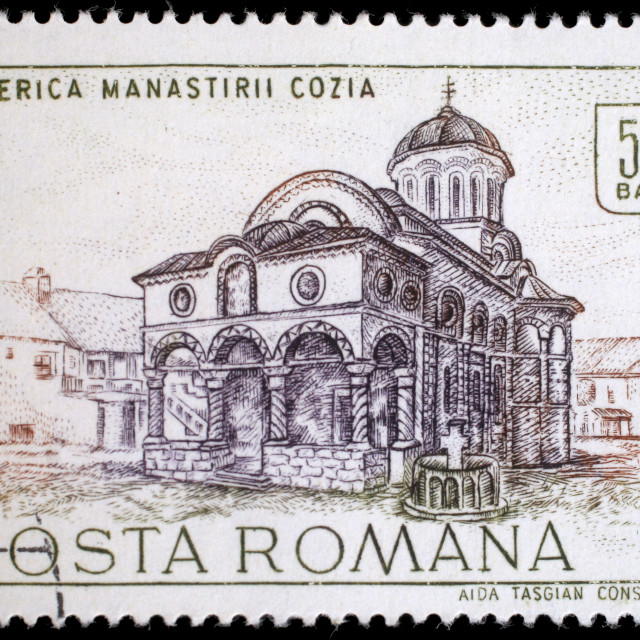 """Stamp from Romania shows image of Cozia monastery church, from the historic monuments series, circa 1968."" stock image"