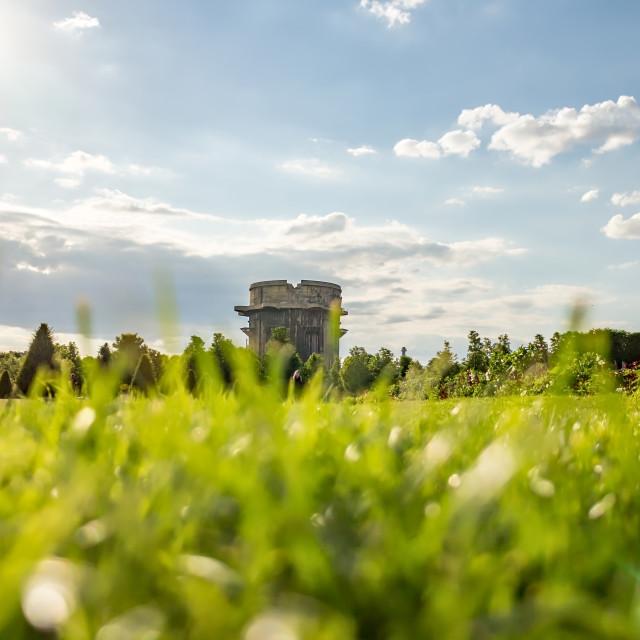 """""""Flak-Tower in Vienna Ausgarten Park."""" stock image"""