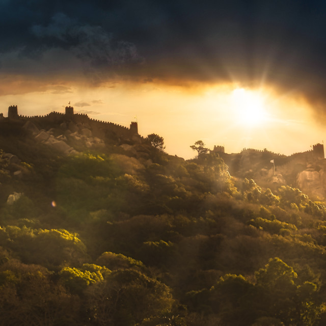 """""""Afternoon Sun and Clouds Mouros Castle Sintra Portugal"""" stock image"""