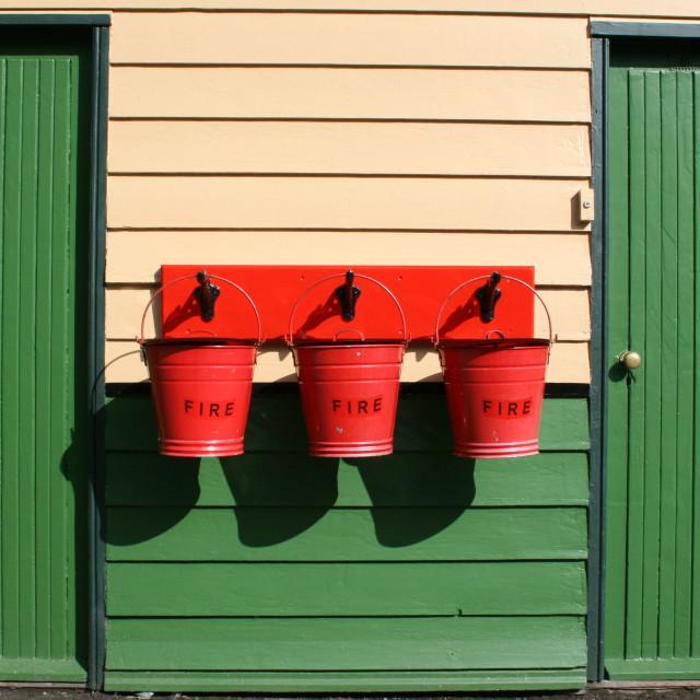 """Fire buckets, Pickering railway station."" stock image"