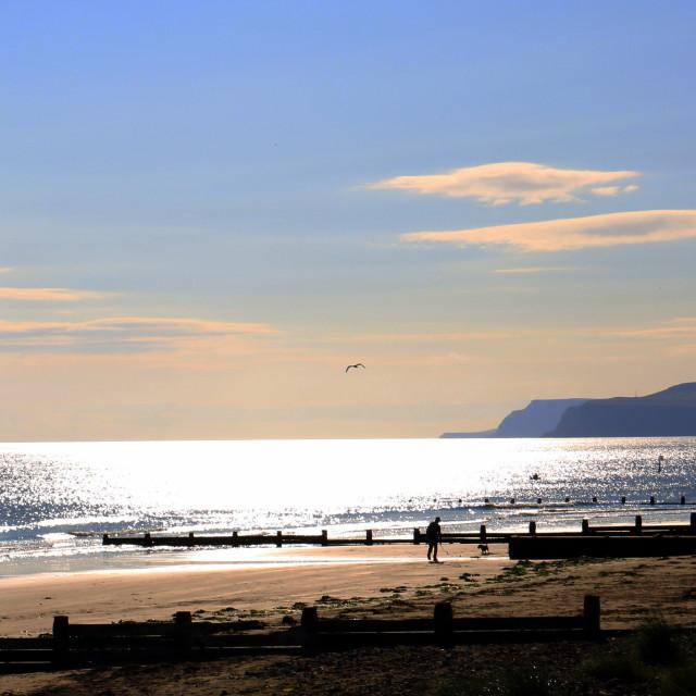 """Redcar beach, towards Saltburn."" stock image"