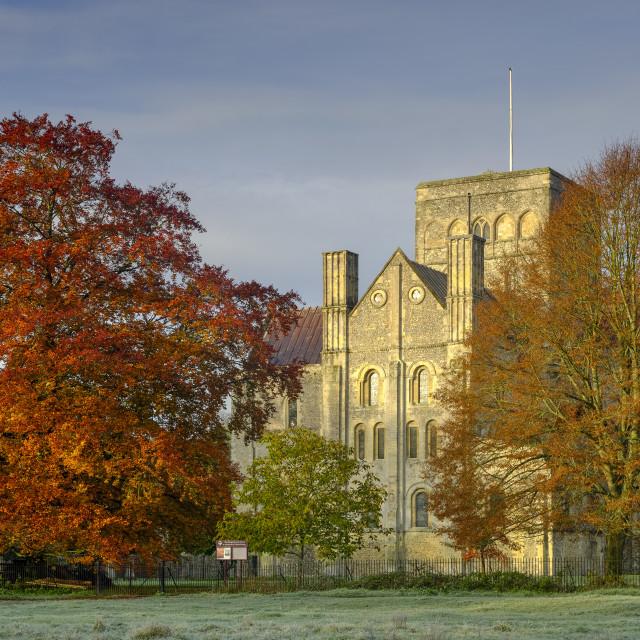 """Frosty morning light on St Cross Hospital near Winchester, UK"" stock image"