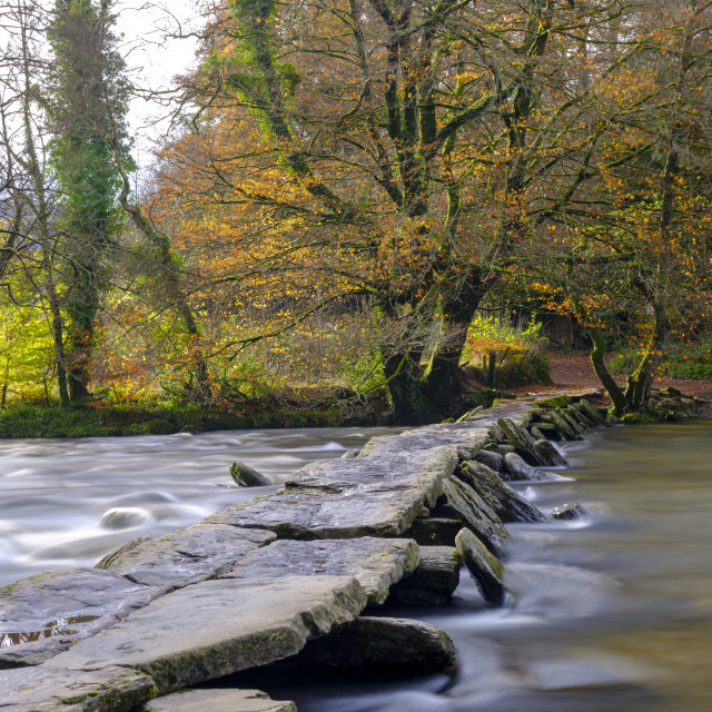 """Tarr Steps with a full flowing river Barle and autumn colours, E"" stock image"