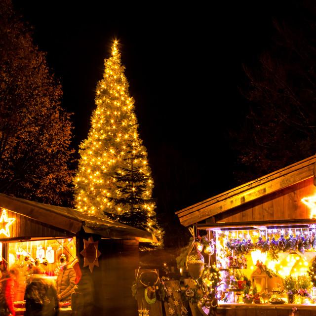 """Christmas market with shining Christmas tree"" stock image"