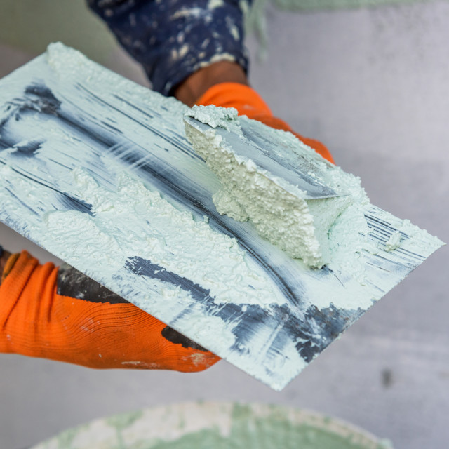 """""""Application Of Facade Plaster."""" stock image"""