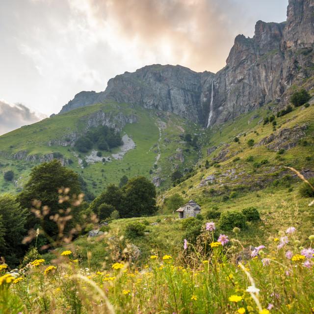 """Beautiful waterfall in Bulgaria at sunset."" stock image"