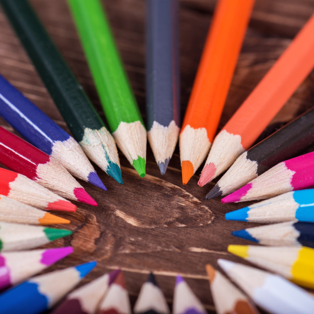 """""""Colored pencil on wood."""" stock image"""