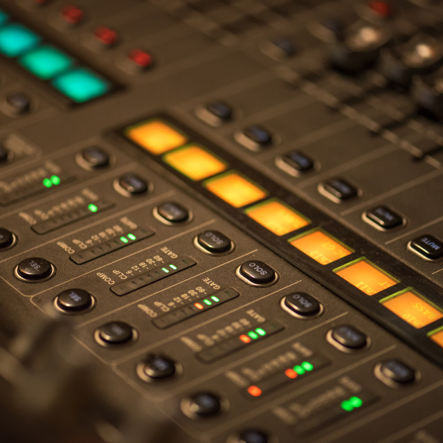 """""""Stage controller with sliders."""" stock image"""
