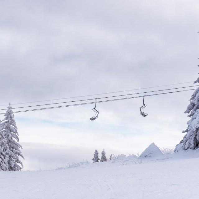 """Ski lift against sky. Bulgaria ski resort."" stock image"