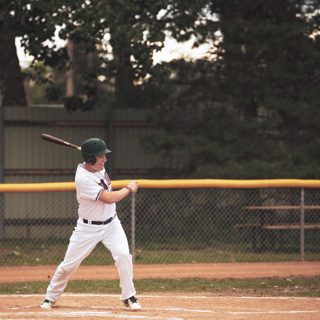 """""""An eighteen year old male swinging the bat at home plate in a white and red baseball uniform in a summer baseball game"""" stock image"""